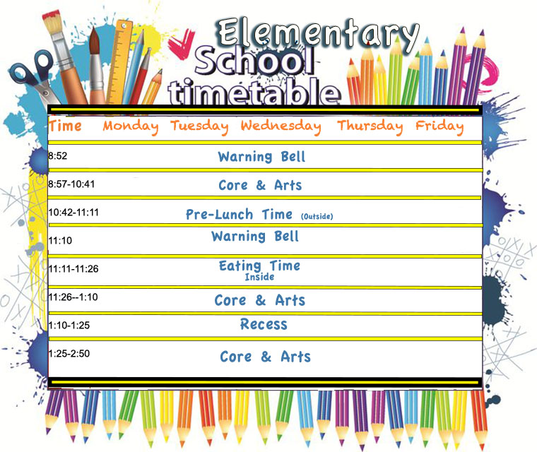 Quotes On School Time Table: Elementary School Time Table